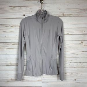 Athleta Gray/Purple Fitted Ribbed Detail Jacket